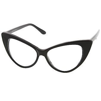 Retro høj siddende templer klar linse overdrevet Cat Eye briller 55mm