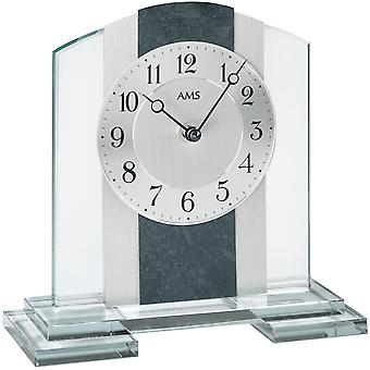AMS table clock quartz mineral glass case shale application black / white