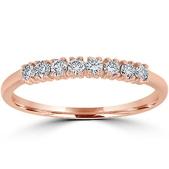 1 / 5ct diamante boda anillo 14K oro rosa