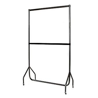 4ft Black Extended Garment Rail with Extension Pieces & Centre Rail