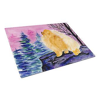 Carolines Treasures  SS8606LCB Pomeranian Glass Cutting Board Large