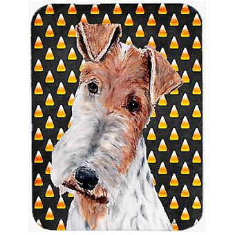 Wire Fox Terrier Candy Corn Halloween Glass Cutting Board Large Size