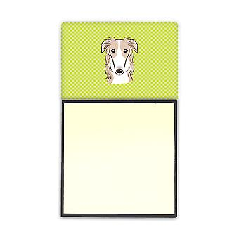 Checkerboard Lime Green Borzoi Refiillable Sticky Note Holder or Postit Note Dis