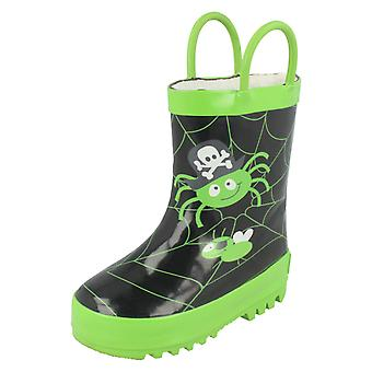 Jungen Startrite Warmlined Wellingtons 'Spider Glow'