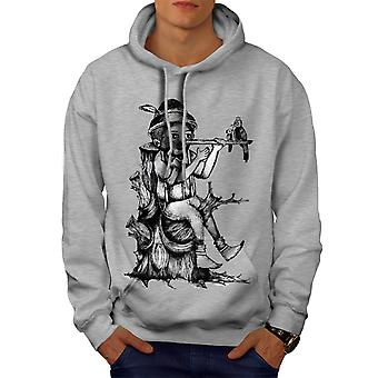 Pinochio Wood Fantasy Men GreyHoodie | Wellcoda