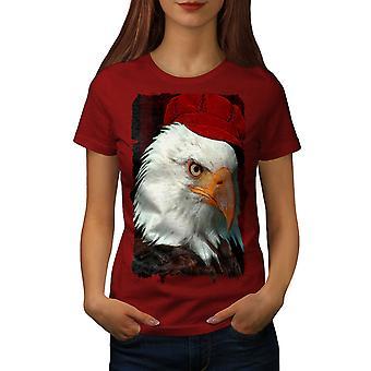 Eagle Bird Printed Women RedT-shirt | Wellcoda