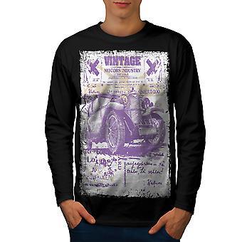T-shirt van de koker van de BlackLong van Vintage mannen van de oude School van auto | Wellcoda