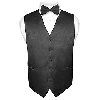 Men's Paisley Design Dress Vest & Bow Tie  Bow Tie Set for Suit Tuxedo