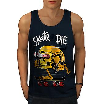Skate Or Die Skull Funny Men NavyTank Top | Wellcoda
