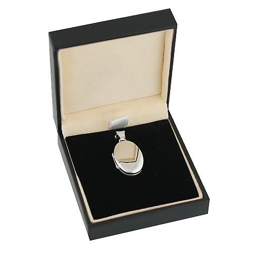 18ct White Gold 22x15mm oval plain Locket