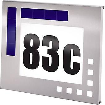 Solar-powered illuminated house numbers Cold white Esotec 102037 Design Stainless steel