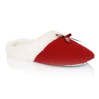 Loungeable, Ladies Moss Stitch Cable Slip On Mule Slippers, Red, Small (UK 3-4)