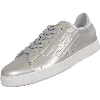 EA7 by Emporio Armani 248028 Classic Leather Silver Trainer