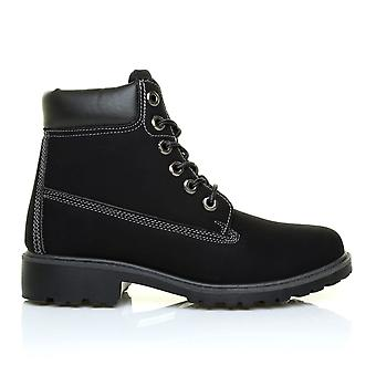 SASHA Black PU Leather Lace Up Walking Hiking Style Ankle Boots