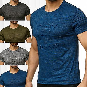 Men's T-Shirt 3D font motive mottled pattern print biker short sleeve shirt O-neck