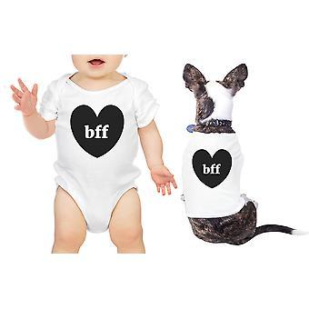 Bff 心ペット赤ちゃんマッチング シャツ ホワイト男の子の赤ちゃんのためのボディー スーツ ギフト