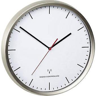 TFA 60.3521.02 30,5 cm x 4,8 cm de acero inoxidable (cepillado) de reloj de pared de Radio movimiento silencioso