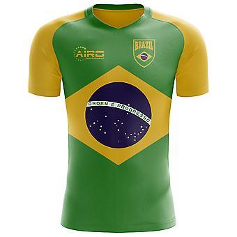 2018-2019 البرازيل العلم مفهوم كرة القدم قميص (الأطفال)