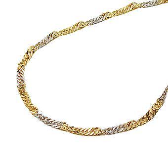 1, 8mm Singapore of bicolor 14Kt GOLD bracelet 19cm