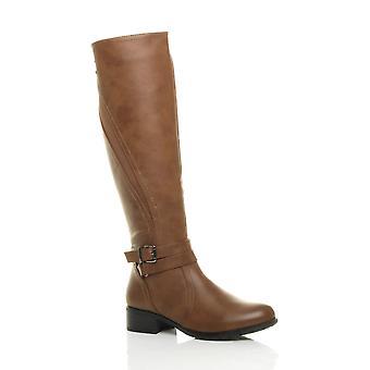 Damskie Ajvani niski obcas pasek zip odcinek elastyczny kolana wysokie buty jeździeckie