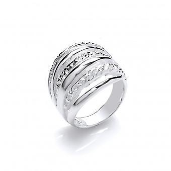 Plata francesa Cavendish abrochó garras anillo