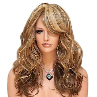 TRIXES lange braun Blonde Highlighted Perücke-Curly Karamell Style Mode und Thema Fancy Dress up-Mesh-Netting