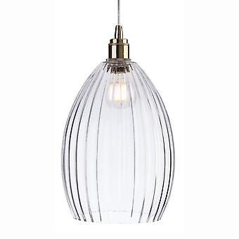 Firstlight Victory 1 Pendant With Clear Glass With Antique Brass Detailing