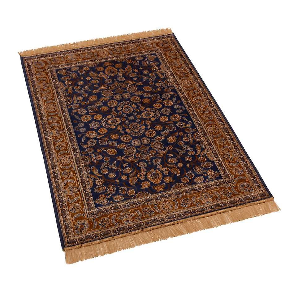 Blue Afghan Ziegler Artificial Faux Silk Effect Rugs 5663/9 100 x 140cm