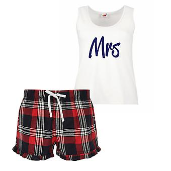 Mrs Ladies Tartan Frill Short Pyjama Set Red Blue or Green Blue