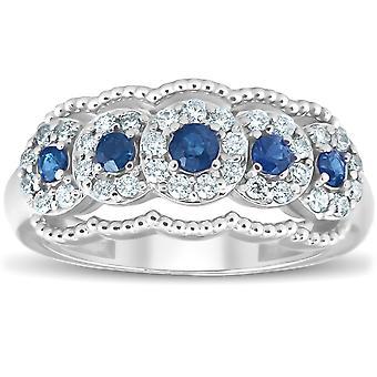 1ct Blue Sapphire & Diamond Vintage Anniversary Ring 14K White Gold