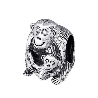 Monkey - 925 Sterling Silver Plain Beads - W10220X