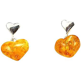 Toc Sterling Silver Heart Shaped Amber Drop Earrings