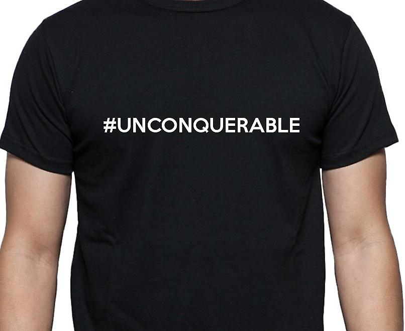 #Unconquerable Hashag Unconquerable Black Hand Printed T shirt