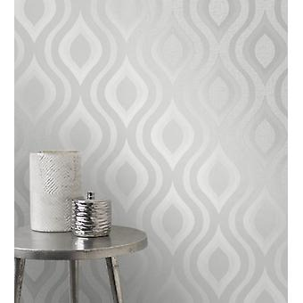 Elegant Quartz Geo Silver Wallpaper Wall Decoration 0.52m x 10.05m