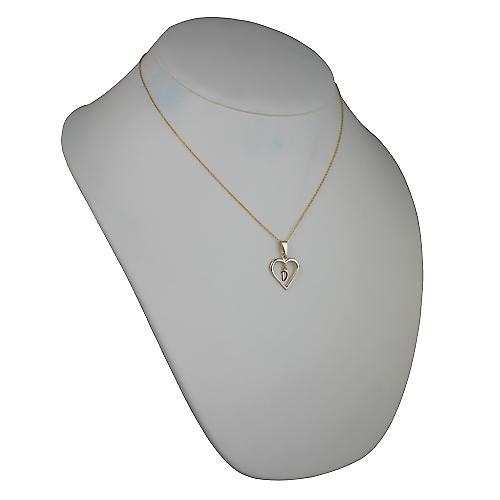 9ct Gold 18x18mm initial D in a heart Pendant with a cable Chain 18 inches