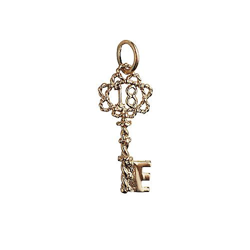 9ct Gold 25x10mm 18 Key Pendant or Charm