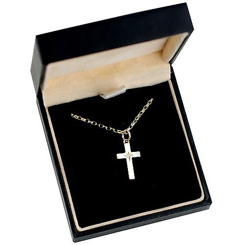 9ct Gold 17x10mm Diamond set block Cross with Belcher chain