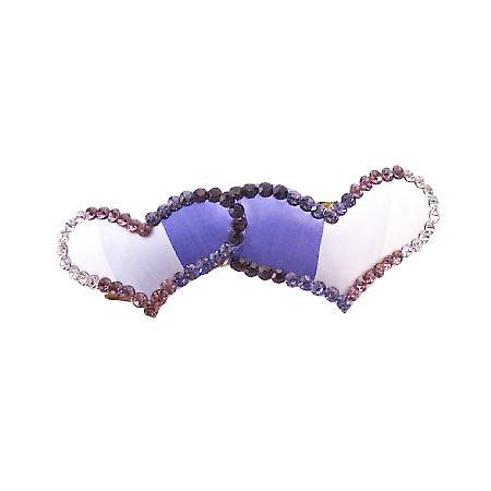 Heart Bridesmaid Hair Barrette Sapphire Ametheyst Heart Crystals Clip