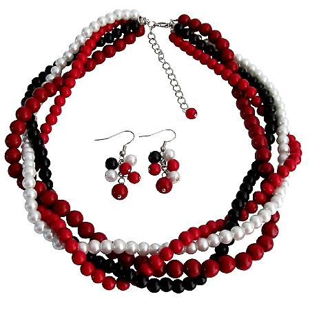 Braided Twisted Chunky Wedding Jewelry Set Red White Black Coral Pearls Four Strands Necklace