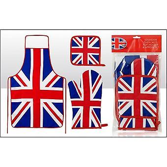 Union Jack slitage Union Jack förkläde, Oven Glove och Grytlapp