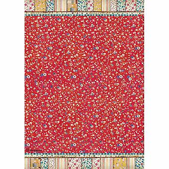 Stamperia Rice Paper A4 Patchwork Texture Red Background (DFSA4348)