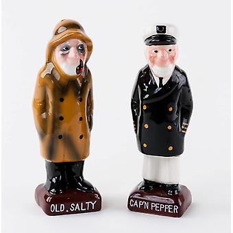 Old Salty and Ships Captain Salt and Pepper Shaker Set