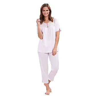 Feraud 3191285-10038 Women's High Class Rose Pink Floral Cotton Embroidered Pyjama Top