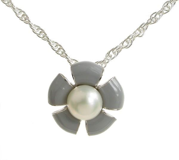 Cavendish French Sterling Silver and Grey Enamel Flower Pendant without Chain