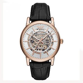 Armani Watches Ar60007 Skeleton Stainless Steel Rose Gold-plated Automatic Leather Strap Watch