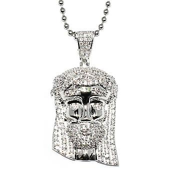 Silver Mini Jesus Piece with Crystal Detail, 36 inch ball chain, High Quality