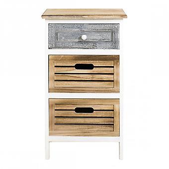 Furniture Rebecca Cassetti Bedside 3 Shabby Grey Wood drawers 65x36,7x28.8