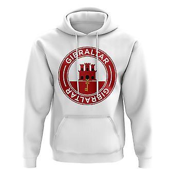 Gibraltar fútbol insignia sudadera con capucha (blanco)