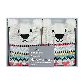 Cliquez sur & chaleur réchauffe-mains de Gel couverture tricotée : ours blanc (paire)