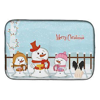 Joyeux Noël chanteurs Papillon noir plat blanc Mat de séchage